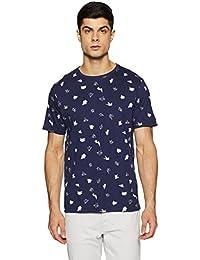 Symbol Amazon Brand Men's Printed Regular Fit T-Shirt (SS18PLK79-A_Peacot Navy_L)