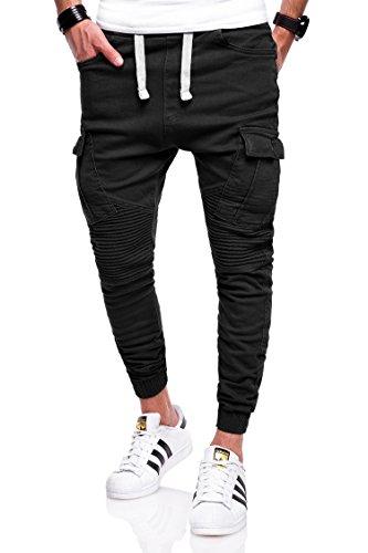 Behype Herren Jogg-Jeans Chino Biker Jeans-Hose 80-2276 (36, Schwarz)