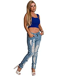 Women's Ladies Blue Denim Ripped Distressed Casual Skinny Jeans