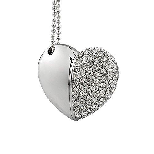 Shooo 16gb rhinestone metallo heart chiavetta usb, fashion jewelry bling shiny crystal diamond pendant,with collana