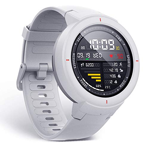 Amazfit Verge Smartwatch by Huami with GPS+ GLONASS All-Day Heart Rate and Activity Tracking, Sleep Monitoring, 5-Day Battery Life, Bluetooth, IPX68 Waterproof - A1811 (White)