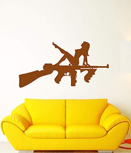 guijiumai Mur de Vinyle Applique Assault, Fusil Arme Arme Nue Fille Autocollant, Arme, Sticker Mural, décoration de Salon Maison Q 3 82x42cm