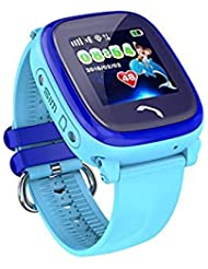 JBC GPS Phone Watch Waterproof WITHOUT Monitor, for Kids, SOS Emergency+Telephone Function, Live GPS+LBS Positioning, Works Worldwide, Manual + App + Support in German