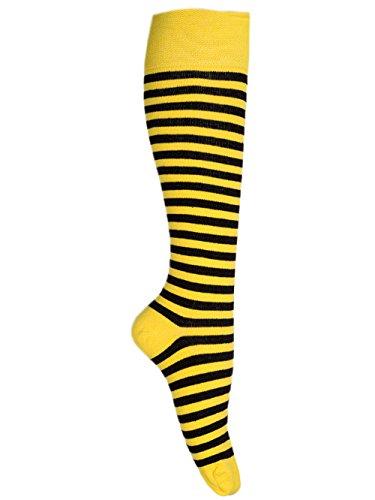 Schwarz Gelb Kostüm Und - Goldschmidt Kostüme Ringelstrümpfe Ringelsocken Erwachsene Kinder vers. Farben&Größen gekämmte Baumwolle (43/46, gelb schwarz)