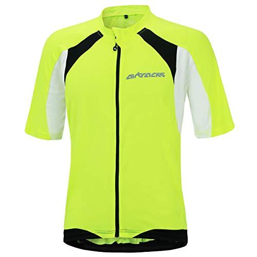 Airtracks Fahrradtrikot Kurzarm Pro-T - Radtrikot - Jersey - Reißverschluss - Atmungsaktiv - Schnelltrocknend - Reflektoren (neon-weiß, L)