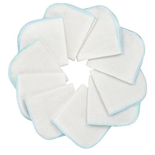 Mias Baby-Waschlappen aus Molton Flanell – 10 Stück, aus Baumwolle, Farbe: weiß, schadstofffrei/Baby-Tücher/Kosmetik-Tücher/Allzwecktücher