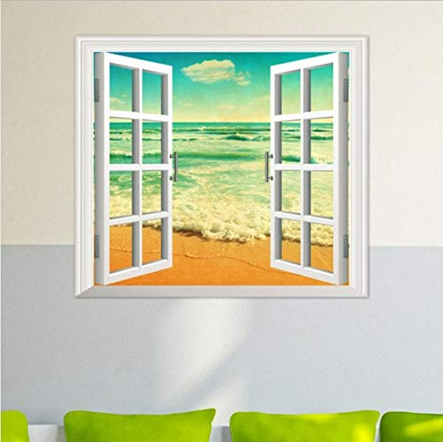 Fenster Ocean Beach Wand Aufkleber Decals Room Decor Vinyl Wandbild Art   Removable Wandaufkleber Home Deco Spiegel 65X58Cm ()