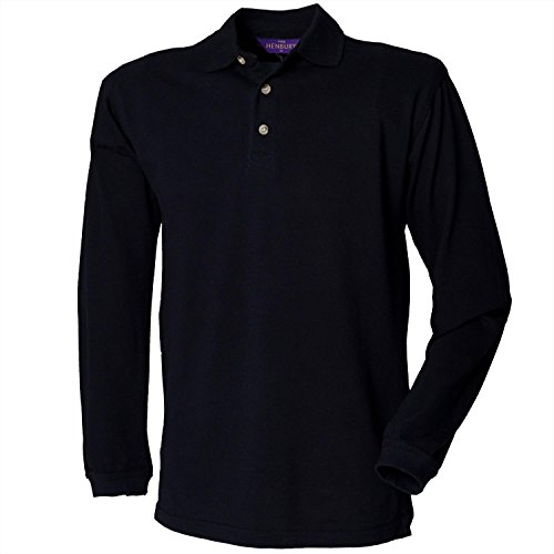 Henbury Long sleeve cotton polo shirt Navy