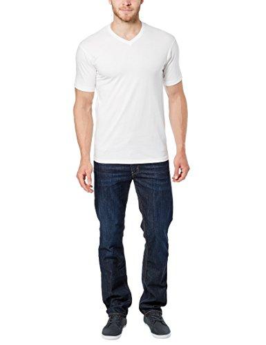 Lower East Herren T-Shirt mit V-Ausschnitt, 5er Pack Weiß