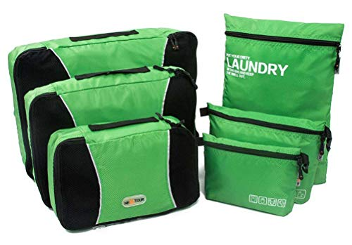 Juego de 6 organizadores de viaje de Nextour, 3 sobres de embalaje, 1 bolsa para accesorios digitales, 1 neceser y 1 bolsa para la ropa sucia Verde verde