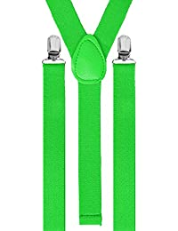 Bretelles réglables fantaisie pour adultes - Taille unique, Vert fluo