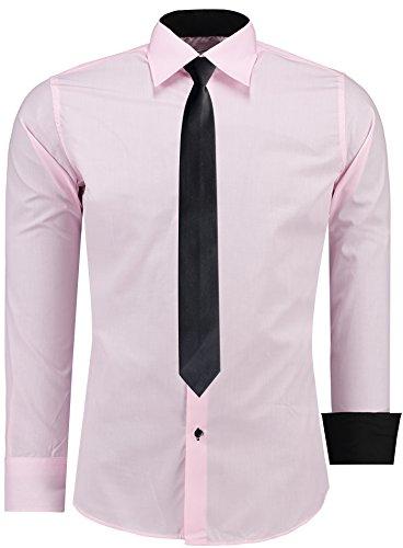JEEL Herren Hemd Business Hochzeit Freizeit Slim Fit Übergrößen - Farbe: Rosa, Größe: S, + KRAWATTE SCHWARZ