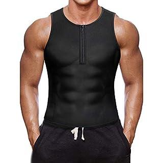 BURUNST Men's Waist Trainer Vest - Neoprene Slimming Corset Body Shaper Sauna Sweat Suits for Weight Loss - Zipper Sauna Tank Top Workout Fitness Shirt (Black-4, XXX-Large(43.3