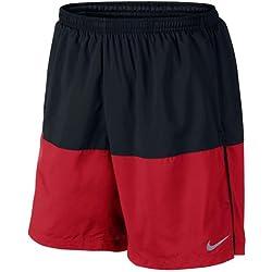 """Nike 7"""" Distance Short (Sp15) - Pantalón corto para hombre, color negro / rojo / plateado, talla XL"""