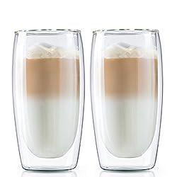 Boral Doppelwandige Latte Macchiato Gläser / Kaffeegläser / Thermogläser, 2er Set, 350 ml
