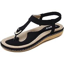 katliu Estate Sandali da Donna Spiaggia Bohemia Eleganti Aperte Bassi Scarpe  con Strass 015c72a2ab0