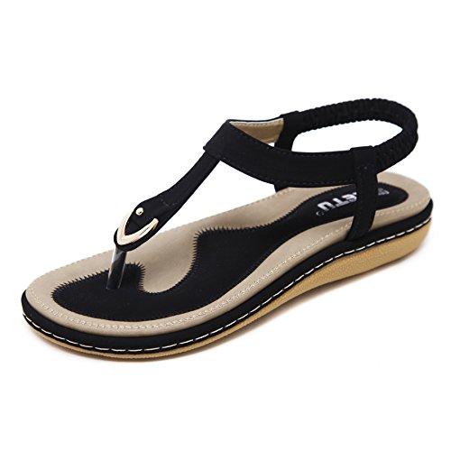 katliu Damen Sommer Sandalen Böhmische Zehentrenner Sommerschuhe Frauen Flach Outdoor Schuhe,Schwarz - Schwarze Sandalen Frauen Flache