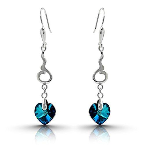 925Sterling Silber Bermuda Herz dunkel blau Kristall Ohrringe mit Swarovski Kristalle Drop Baumeln Ohrringe für Frauen und Mädchen–Luxuriöse Mütter, Valentinstag und Jahrestag Geschenke für (Indischen Kind Machen Kostüm Der In)