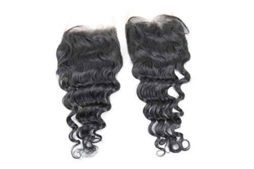 Cheveux Vierges brésiliens 30,5 cm Deep Wave dentelle fermeture/fermeture supérieure (12,7 x 12,7 cm) couleur naturelle 120% Densité