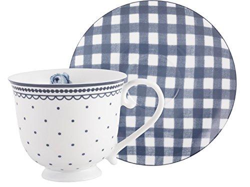 Katie Alice Juego de Porcelana, Taza de Lunares Vintage Indigo y platillo Gingham, Morado, 2 Piezas