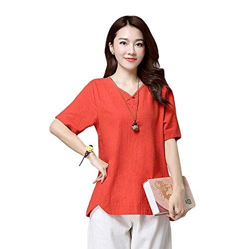 Haodasi Damen V-Neck Baumwolle Leinen Kurze Hülse Bluse Sommer Loose T-Shirts Tops Red