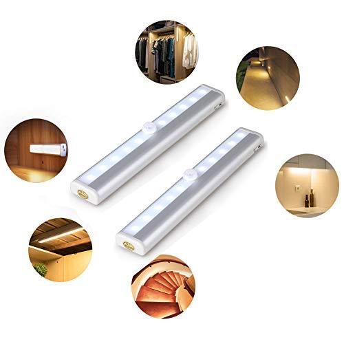 Hyuhome Sensore di Movimento Armadio Leggero 10 LED PIR Senza Fili Alimentato A Batteria Sensore di Luce Notturna Barra Luminosa con Striscia