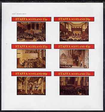 Staffa 1982 Regency England #2 imperf sheetlet set of 6 values u/m SOCIAL HISTORY LAW LEGAL JandRStamps - Regency Bürobedarf