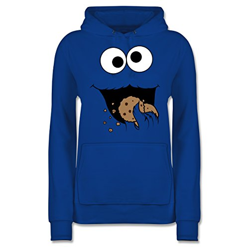 & Fasching - Keks-Monster - L - Royalblau - JH001F - Damen Hoodie ()