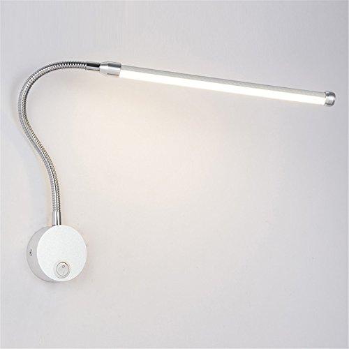 6W modern einfach 360 Grad einstellbar LED Wandleuchte mit Knopf Schalter Schlafzimmer Bett Dekor Wandlampen Lesung Beleuchtung Wand Licht,White