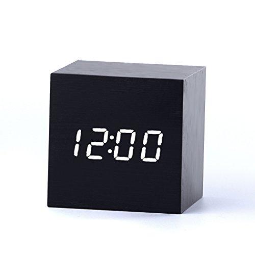Yihya Clásico madera Reloj Alarm Clock, Moda Desk Digital Snooze Reloj con Termómetro Tiempo Pantalla LED Vioce Activado, Control de Sonido Sensor Perfecto para el Hogar y la Oficina --- Negro - luz