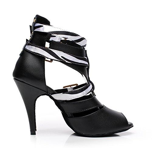 Minitoo QJ6178 Sangle en cuir avec boucle pour femme Cheville écoles de danse latine chaussures Blanc