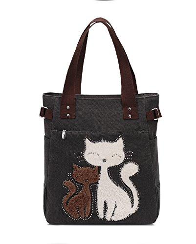 Vintage Reisetasche Handtaschen Schultertasche KAUKKO Shopper Taschen Umhängetasche Damen Handbag Schwarz -