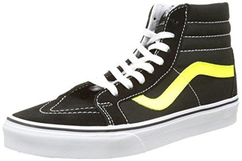 Vans Herren Ua Sk8-Hi Reissue Hohe Sneakers Schwarz (Neon Leather Black/neon Yellow)