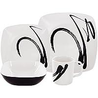 #1118 Melamin Geschirr-Set 16-teilig für 4 Personen Teller Tassen Schüssel in trendiges Tinten-Design • Camping Picknick Geschirr
