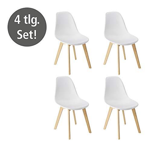 WENKO Design Esszimmerstühle Sala- 4er Set, Küchenstuhl abwaschbar, Kunststoff, 52 x 83 x 47cm, Weiß