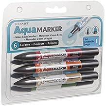 Letraset - Paquete de 6 rotuladores (doble punta, tinta a base de agua), colores variados