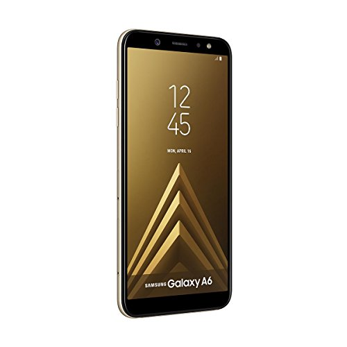 Samsung Galaxy A6 -  Smartphone libre Android 8, 0 (5, 6 HD+),  Dual SIM,  Cámara Trasera 16MP + Flash y Frontal 16MP + Flash,  Oro,  32 GB 5.6