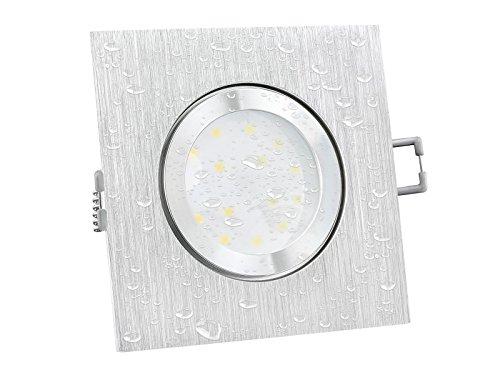 LED Decken-Einbaustrahler flach (30mm) QW-2 quadratisch IP44 für Bad & Außen geeignet mit 5W LED Modul in warm-weiß E-qw