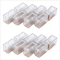 8 tapas para patas de silla de silicona, rectangulares, para muebles, tablas, patas cubiertas, protección de patas con suela de goma