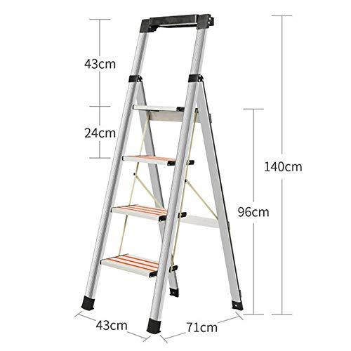 Escalera de Mano - Rodamiento multifunción Antideslizante Plegable de Acero Inoxidable for el hogar 200 kg Escalera de Seguridad Estable (Size : 4 Steps)