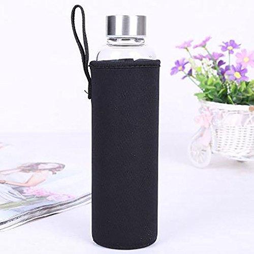 anqeeso Wasser Flasche Tasche, 2Sport Neopren Schutzhülle tragbar Isolator Halterung Tasche Sleeve Carrier Kapazität 550ml Schwarz  -
