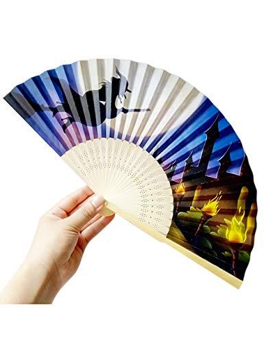 ATLD Fächer Handfächer Dekorative Fan-Halloween-Kürbis-Hand Geschnitzte Faltende Fan-Art des Bambusses Hölzern