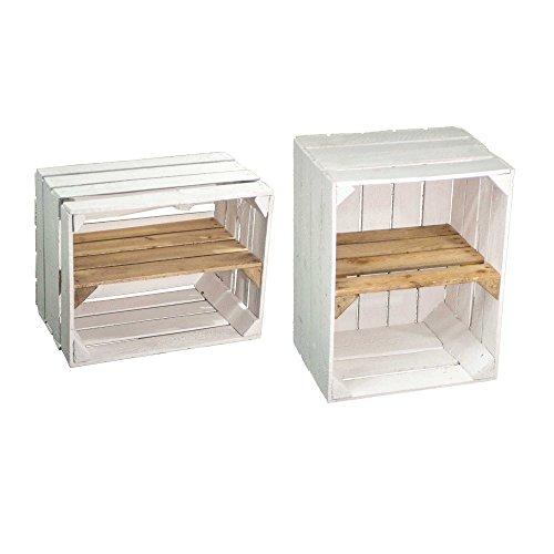 SET - Zwei weiße gebrauchte Obstkisten mit Regalboden vom Kistenbaron, perfekt als Bücher- oder...
