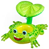 #4: Inflatable Kiddie Swim Pool Water Float Tube Ring for Kids sitting rider with Sunshade - Frog