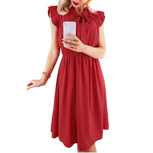 8bdfcdbab22b0 Women's Elegant Short Sleeve Dresses Casual Dress,Women's Cocktail  Dresses,Women Party Dress, Women V-Neck Polka Dot Dress Bow Tunic Sundress  Summer ...