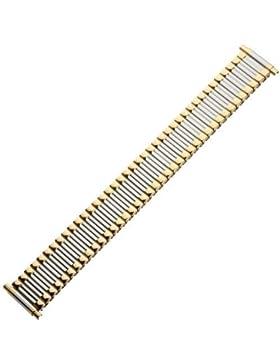 Uhrenarmband 16mm Metall bicolor, silber / gold - Zugband flexibel - Flexband aus Edelstahl - Ascoflex Uhrband...
