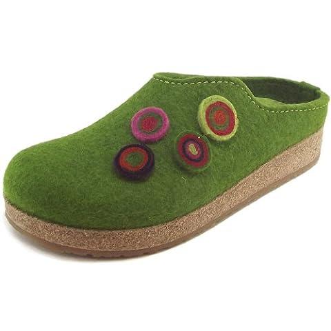 Haflinger Grizzly Kanon 731023-0-36 Damen Pantoffeln, grasgrün, Gr. 39 (Wollfilz Thema)