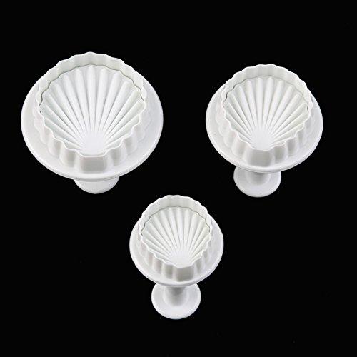 Lumanuby 3pcs/Set Muscheln Ausstechformen mit Auswerfer Kunststoff Shell Ausstechformen Stempel für Cookie Biscuit Durchmesser ca.4,5/3,5/3cm