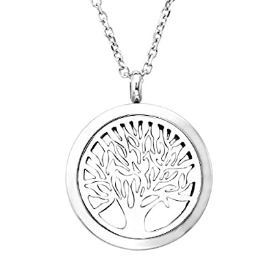 Zysta Stainless Steel Aromatherapy Perfume Essential Oil Fragrance Diffuser Necklace Locket Pendant with 6 Washable Pads, 24 inches