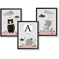 Personalisiertes Geschenk zur Geburt für Baby Mädchen optional mit Bilderrahmen | verschiedene Motive | A4 Kunstdruck Kinderzimmer